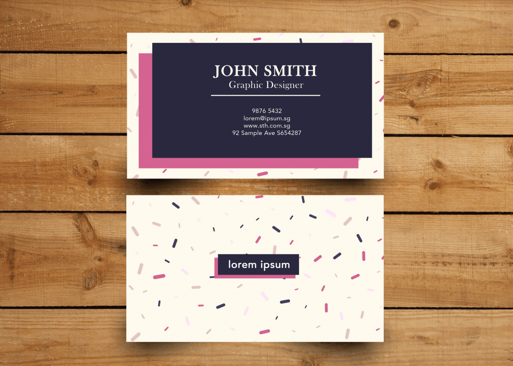 Name Card Purple Navy